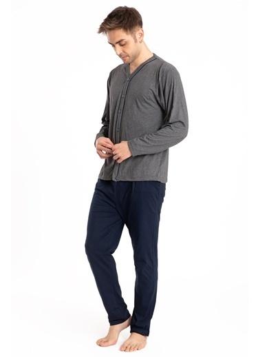 Pemilo Erkek 627 Uzun Kol Önden Düğmeli Cepli Yazlık Pijama Takımı LACİVERT Füme